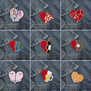 2pcs/set Creative Brocken Heart Wine Bottle Earth Cup Pizza Enamel Pins BEST BUDS/BOOS Brooch Collar Pin Badges Corsage Jewelry(China)