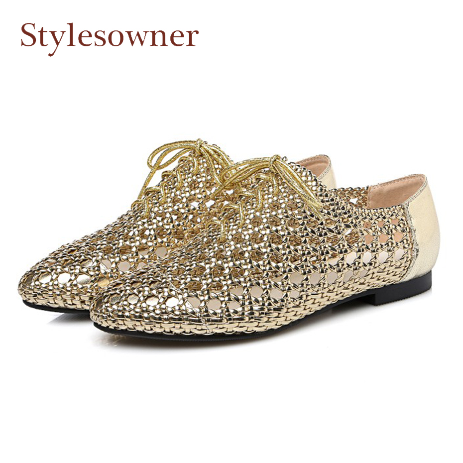 Stylesowner genuine leather weave hollow out flat heel shoes women spring summer round toe lace up casual shoes mujer zapatos 2018 new arrival women flats shoes shallow flat heel hollow out flower shape nude shoes pointed toe shoes zapatos mujer