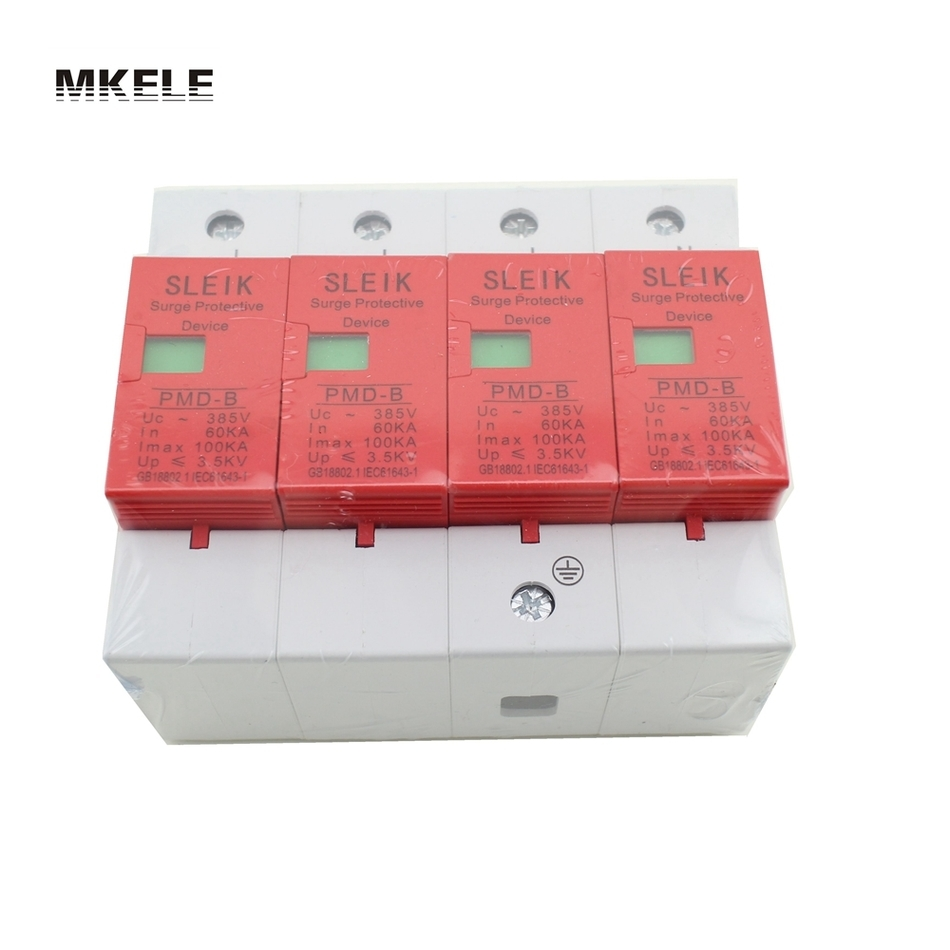 420VAC SPD 4P 60KA~100KA Low-voltage Arrester Device House Surge Protector Protective 420vac spd 40 80ka 4p surge arrester protection device electric house surge protector lightning protection b
