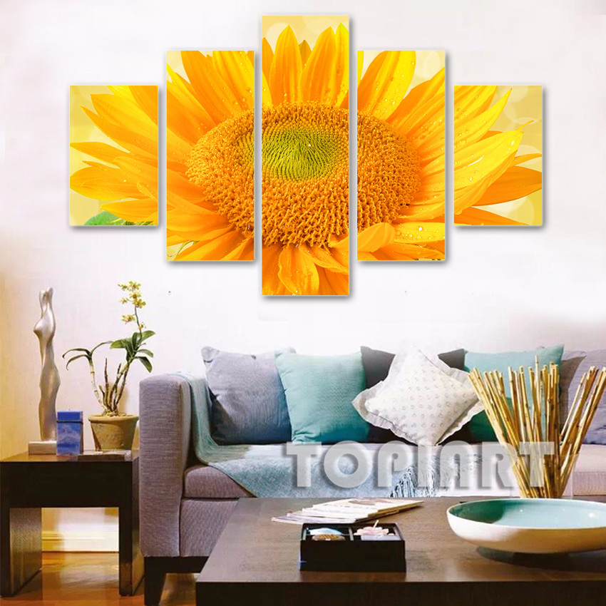 Modern Flower Canvas Art Wall Decor Sunflower In Full Bloom Painting  Picture For Living Office Bedroom Part 61