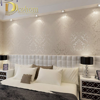 European Vintage Luxury Damask Wall Paper PVC Embossed Textured Wallpaper Rolls Home Decoration Gold Silver White