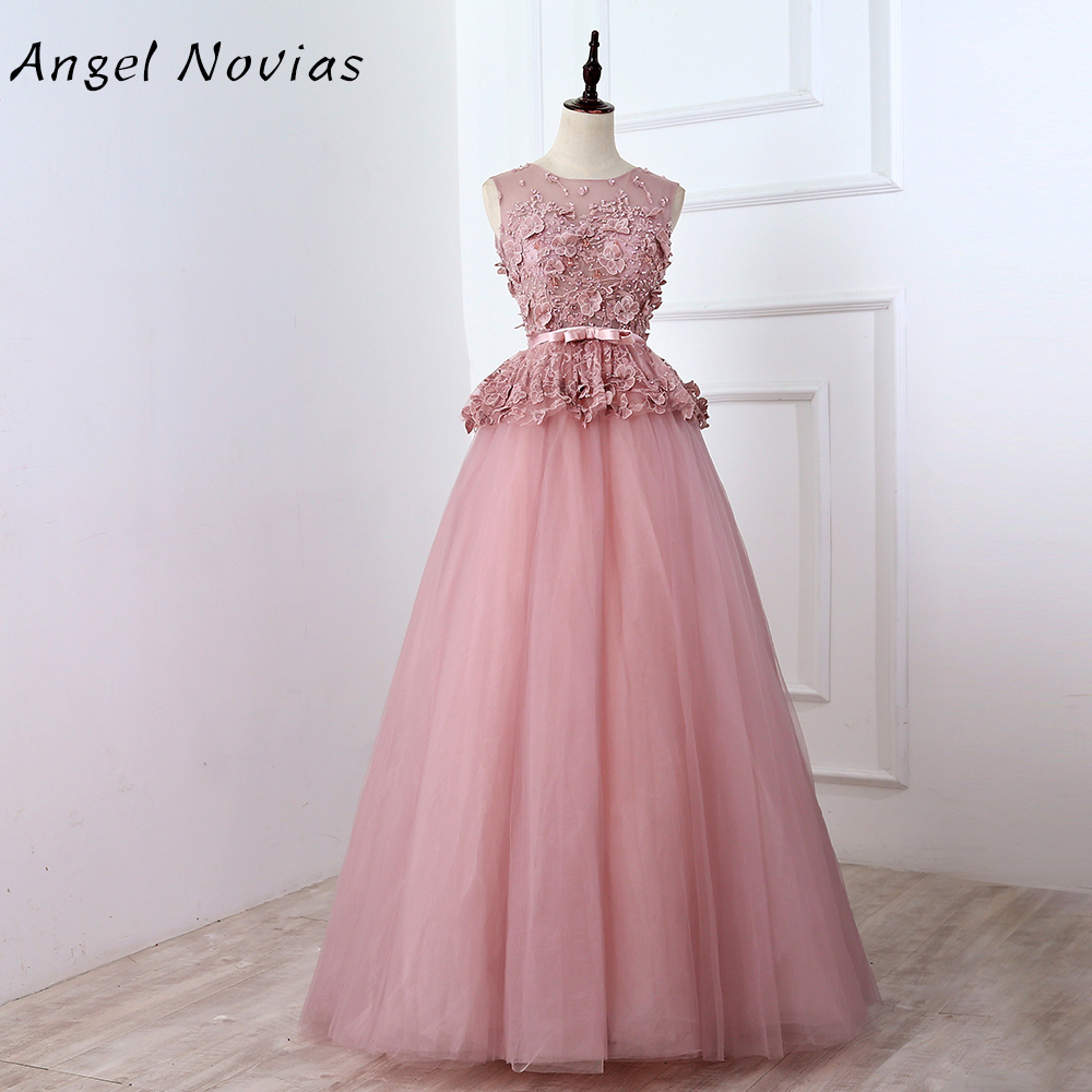 Angel Novias Long Dusty Pink   Prom     Dress   2018 Lace Appliques Backless Evening Gown with Corset