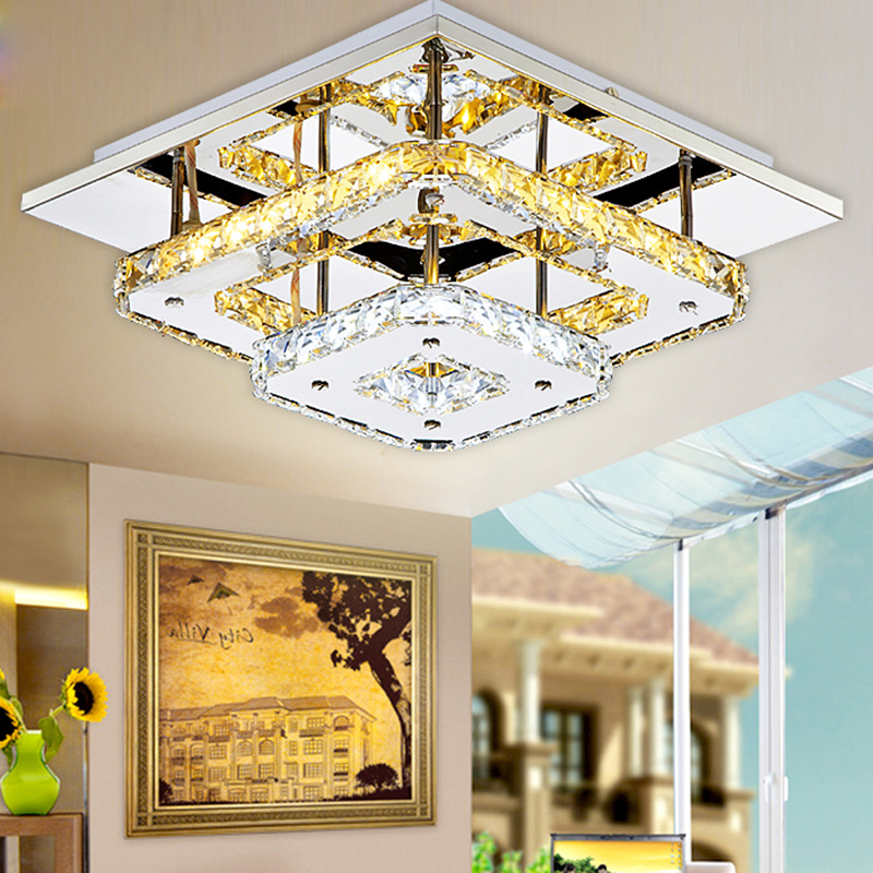 Modern Crystal LED Ceiling lights Fixture For Indoor Lamp lamparas de techo Surface Mounting Ceiling Lamp For Bedroom noosion modern led ceiling lamp for bedroom room black and white color with crystal plafon techo iluminacion lustre de plafond