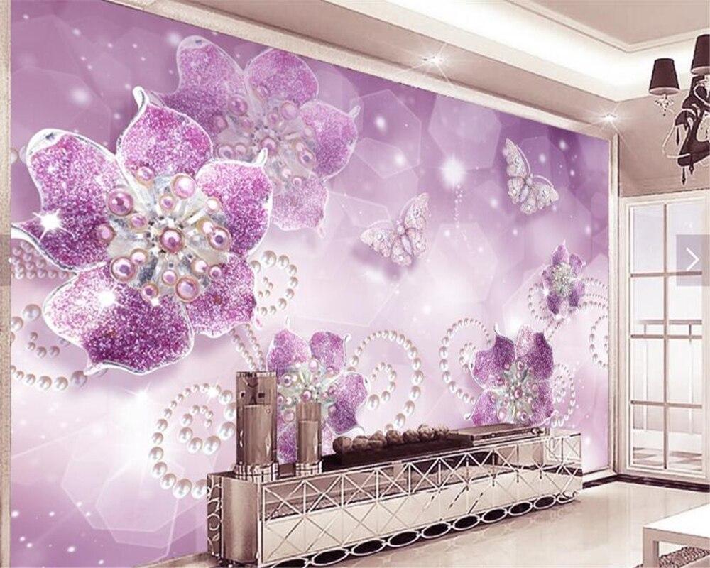 Beibehang 3D Wallpaper Berkualitas Tinggi Yang Indah Wallpaper Ungu Bunga Butterfly Perhiasan Latar Belakang TV Tapety