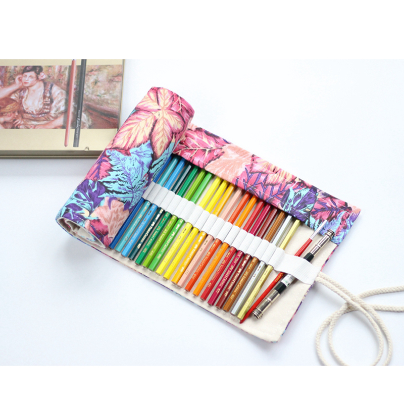 Creative Pen Bag Maple Leaf Pen Pouch Canvas Pen Wrap Roll Up Pencil Case Stationery School Supplies student 36/48/72 Holes mint student navy canvas pen pencil case coin purse pouch bag jun01