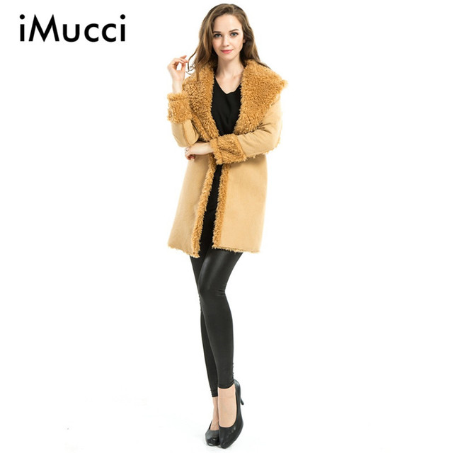 2016 Winter Latest Fur Collar Coat Women Long Open Stitch Long Sleeve Wide-waisted Warm Winter Trench Coat for Women Size S-XL