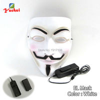 Hot Sale PVC Funny Flashion White EL Mask Halloween Light Up EL Wire Mask For Party