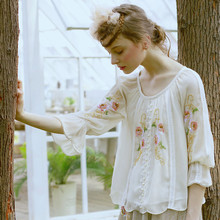 LYNETTE'S CHINOISERIE Handmade beading spilliness embroidered patchwork three quarter sleeve beige all-match top