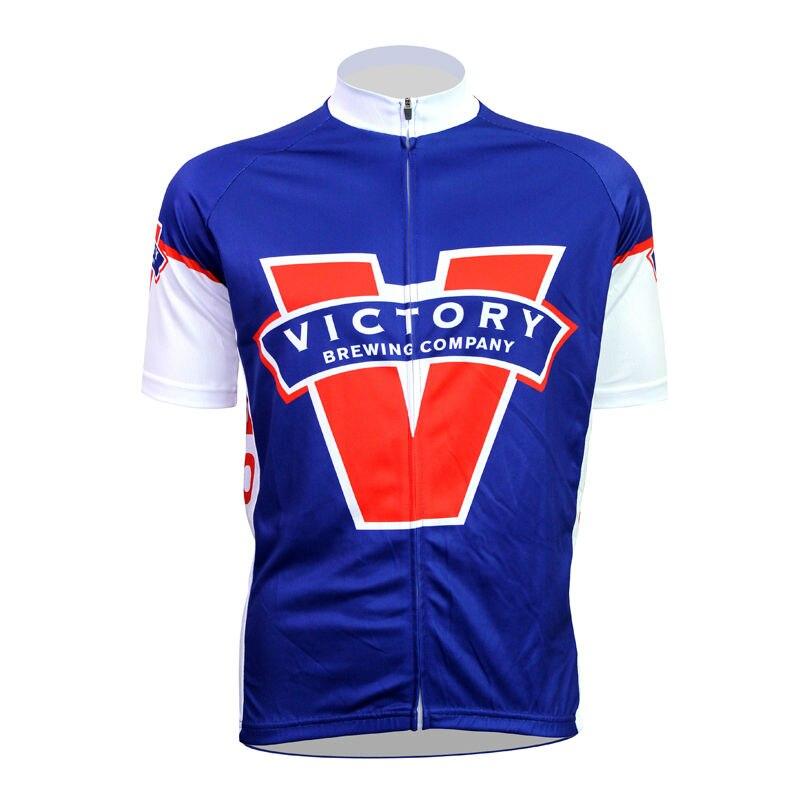 ФОТО Alien SportsWear VICTORY Pattern Men top Sleeve Bicycle Clothing Blue Summer Anti-sweat Pro Cycling Jerseys bike top