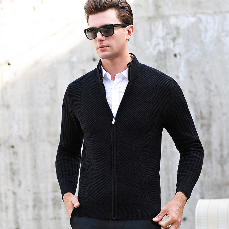 MACROSEA haute qualité hommes marque 100% laine Twill Sweatercoat Cardigan homme couleur unie épais laine Cardigan à fermeture éclair 8120