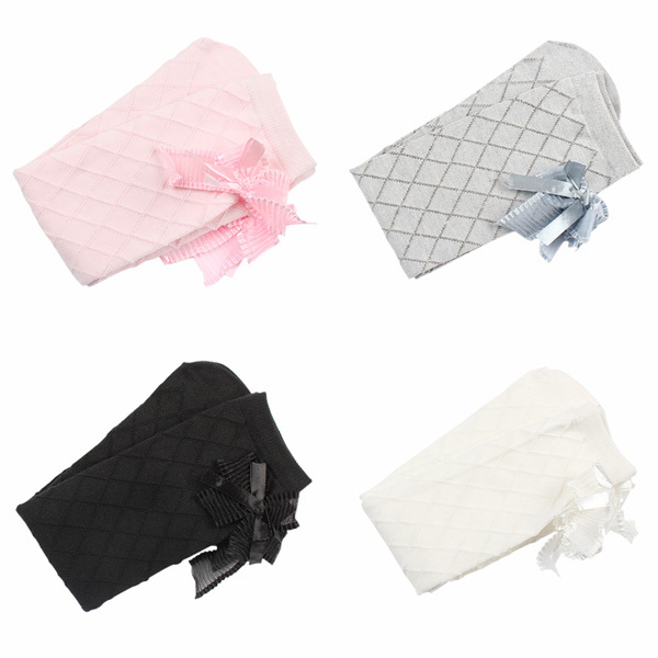 TOP Lovely Baby Kids Girls Bowknot Cotton Plaids Stockings School High Knee Stockings