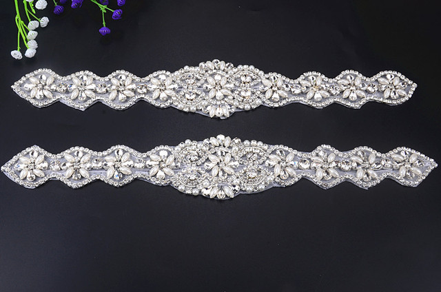 Free shipping new design pearl beaded appliques motif rhinestone