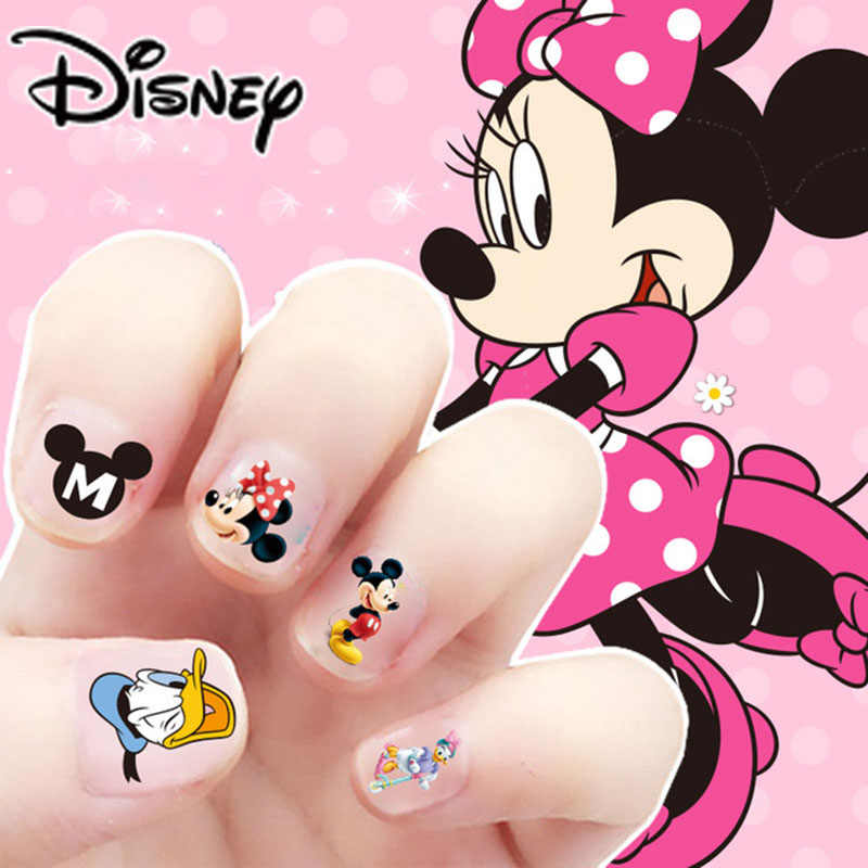 แช่แข็ง Elsa และ Anna แต่งหน้าของเล่นเล็บสติกเกอร์ Disney Snow White Princess SOPHIA Mickey Minnie เด็กต่างหูสติกเกอร์ของเล่น