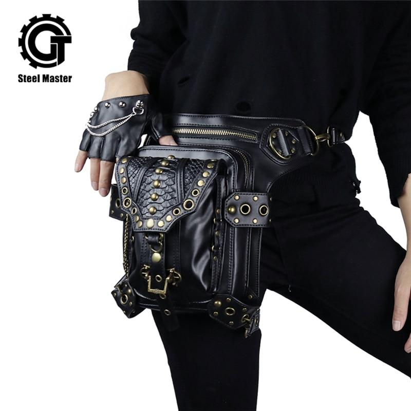 Steampunk Retro Rock Bag Motocikls PU Ādas Mobilais telefons soma Atdzesē kniedes Messenger plecu soma Vintage vīriešu sieviešu vidukļa soma