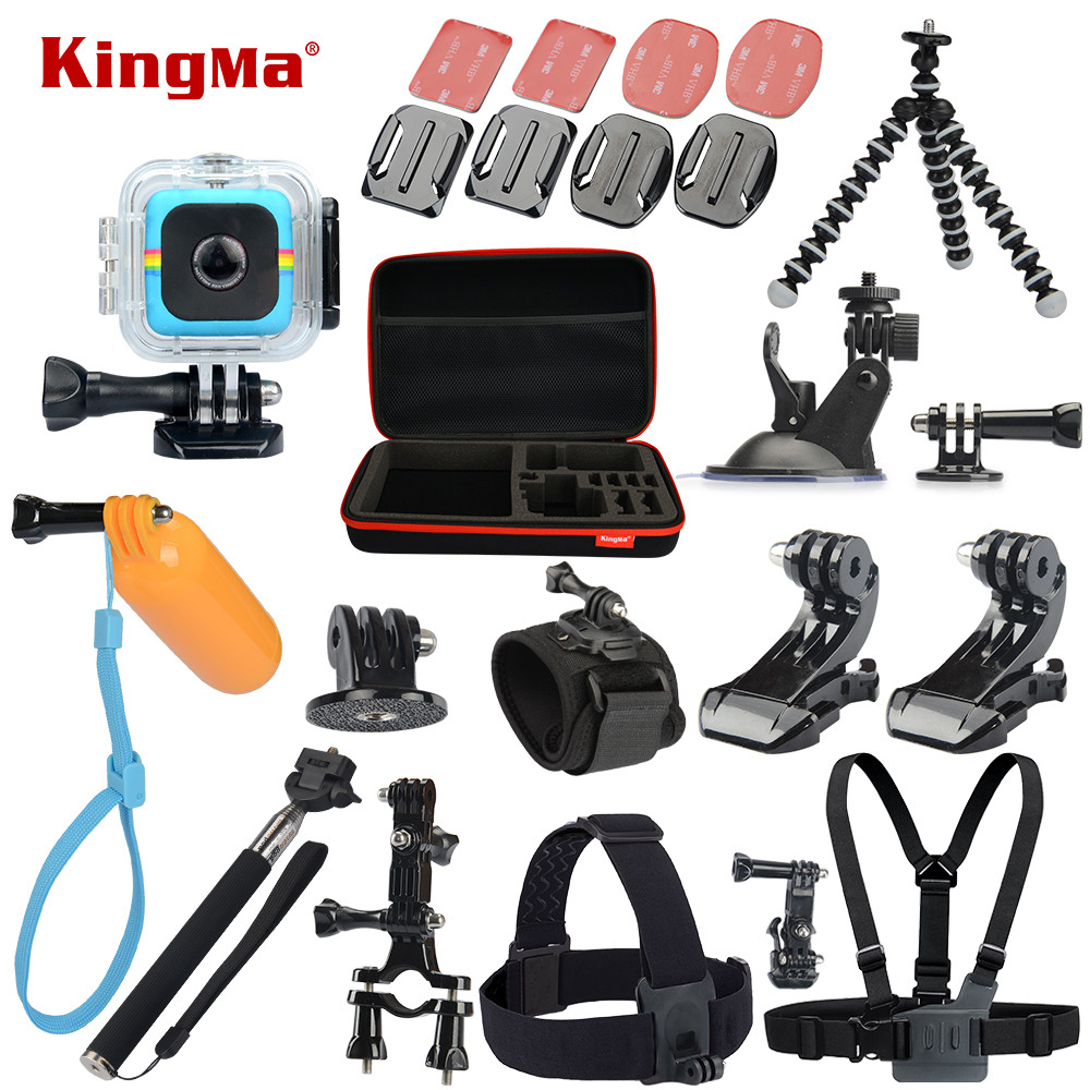 KingMa For Polaroid Cube+ Waterproof Case 12-in-1 Accessories Kit for Polaroid Cube and Cube+ Accesorios set polaroid cube blue экшн камера