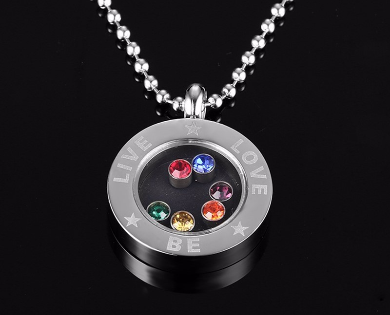 Live-Be-Love Rainbow Rhinestones Stainless Steel Pendant Necklace