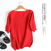 Women S Half Sleeve Sweater Loose Cashmere Knitted Tops Slash Neck Pullovers Off Shoulder Sweaters Casual