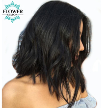 FlowerSeason Natural Wave 13×6 Short Bob Lace Front Human Hair Wigs With Baby Hair Brazilian Non Remy Hair Pre Plucked