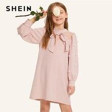 Шеин детская розовая сетчатая вставка бант спереди жемчуг обувь для девочек милое платье с помпоном 2019 Стенд воротник епископ рукав вечерние Н
