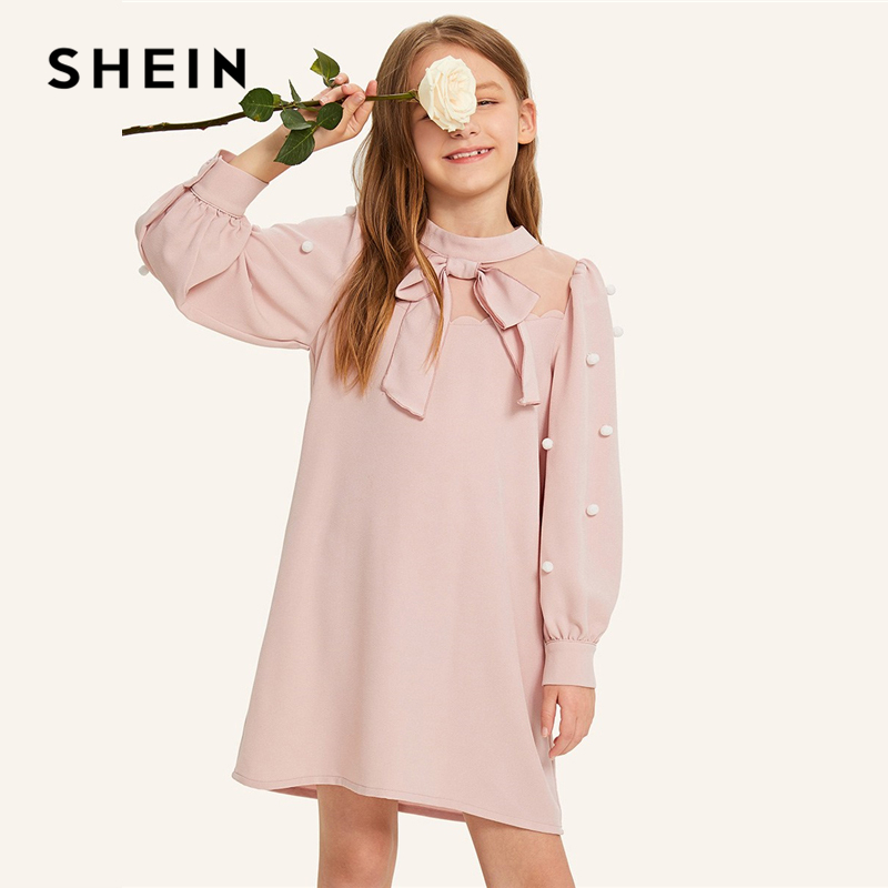 SHEIN Kiddie Pink Mesh Insert Bow Front Pearls Girls Cute Pompom Dress 2019 Stand Collar Bishop Sleeve Party Kids Tunic Dresses girls floral lace insert swing dress