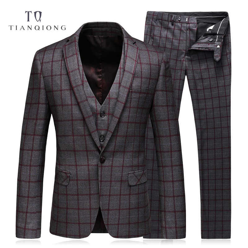 TIAN QIONG Mens Suits Slim Fit (Jacket+Vest+Pants) Set Modern Latest Coat Pants Designs Solid Color Blue Tuxedo Prom Suits 2017