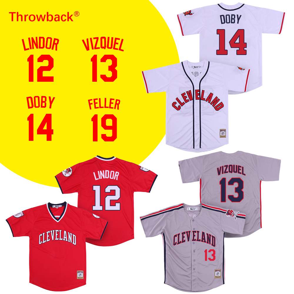 5917114d7 ... coupon throwback jersey mens cleveland12 francisco lindor 13 omar  vizquel 14 larry doby 19 bob feller