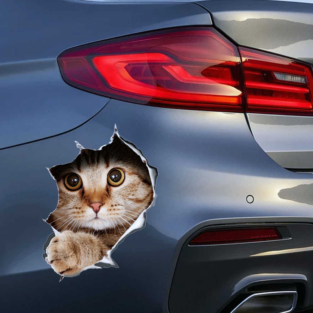 13*17cm Fashion Car Stickers 3D Stereo Anime Funny Creative Personality Kitten Dog Simulation Stickers Car Styling Accessories