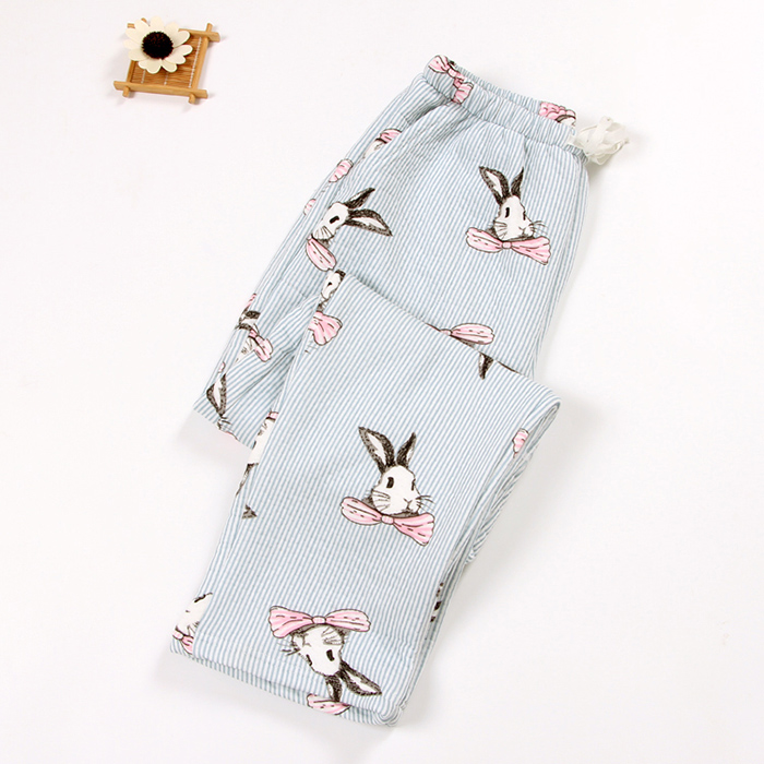 Women pajama pants autumn and winter air cotton polyetser filled casual striped loose home long pants cartoon high waist lounge