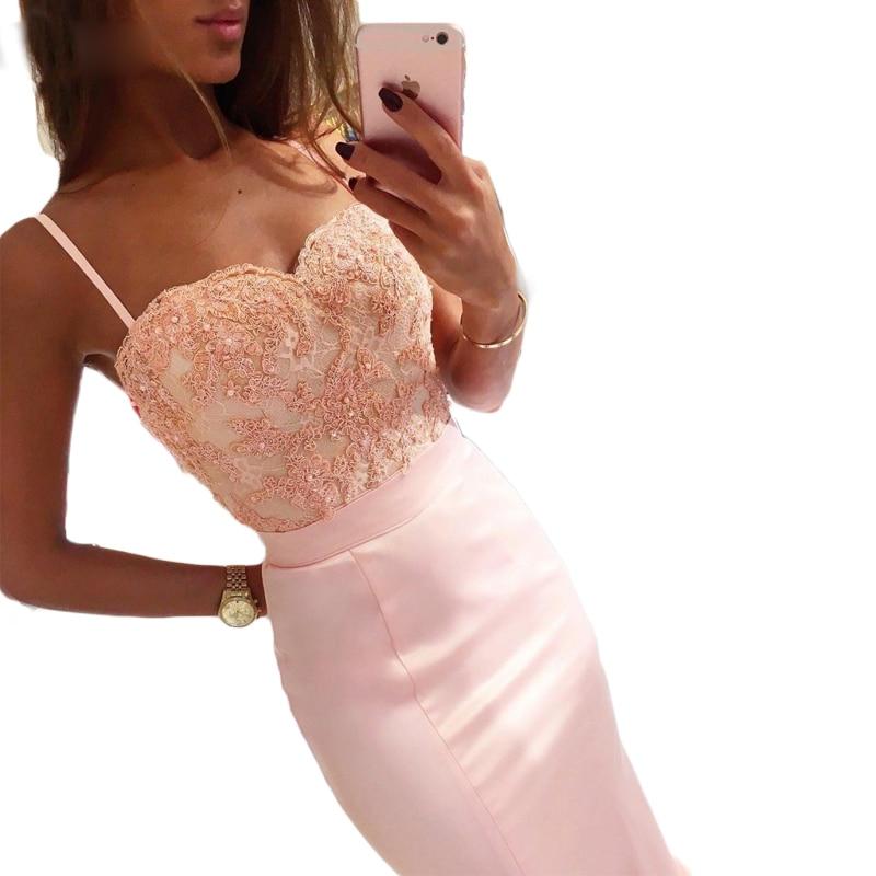 Mermaid   Bridesmaid     Dresses   2019 Spaghetti Straps Pink Formal   Dresses   Appliques Long Wedding Party   Dresses