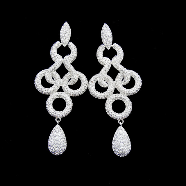Luxo Cristal Cubic Zirconia Jóias Novo 2016 Moda Brincos Longos Para As Mulheres Presentes do Dia Dos Namorados