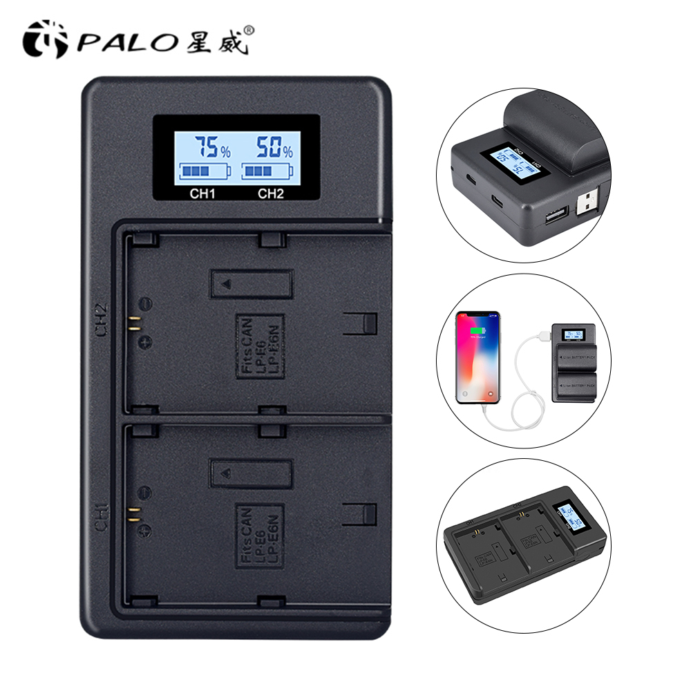 LP E6 LPE6 LP-E6 E6N Battery Charger LCD Dual Charg