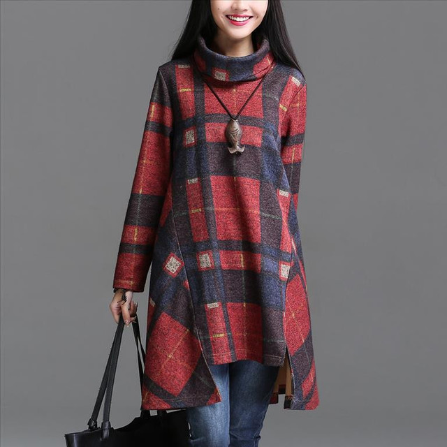 Autumn Winter 2016 Women Tunic Dress Female Vintage Plaid Asymmetry  Long Sleeve Turn Down Collar Thickening Dress Robe Vestidos