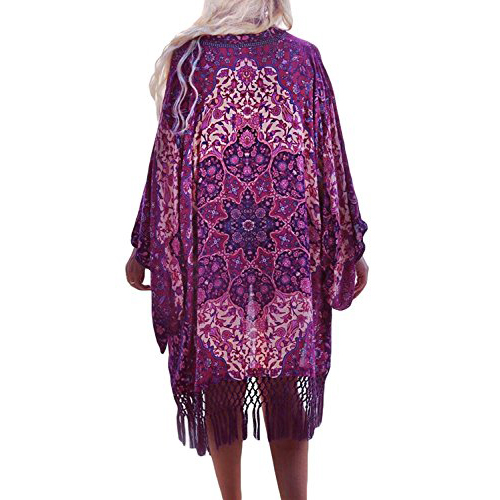 Women Bikini Beach Cover Swimsuit Bathing Suit Chiffon Cardigan (one size, Purple)