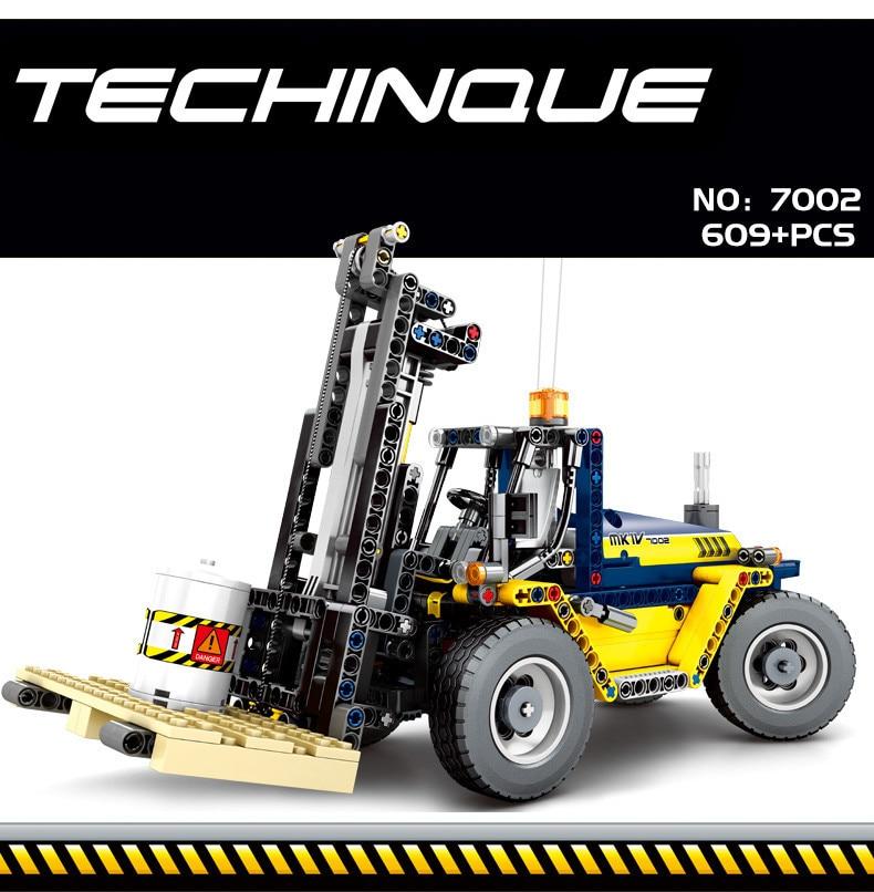 609pcs City Engineering Vehicles 2 In 1 Forklift Building Blocks Compatible Legoing Technic Truck Crane Bricks Toys For Children (1)