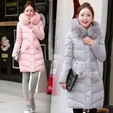 Новый Плюс Размер Зимнее Пальто Женщин Длинный Жакет Пальто Мода Меховой Воротник Parka Женская одежда Хлопок Вниз Пальто 4 Цвет
