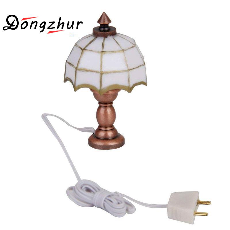 Dolls & Stuffed Toys Painstaking Dongzhur 1:12 Doll House Miniature Desk Table Lamp 12 Volt Working Light Dollhouse Accessories Mini White Table Lamp Lustrous Surface Toys & Hobbies