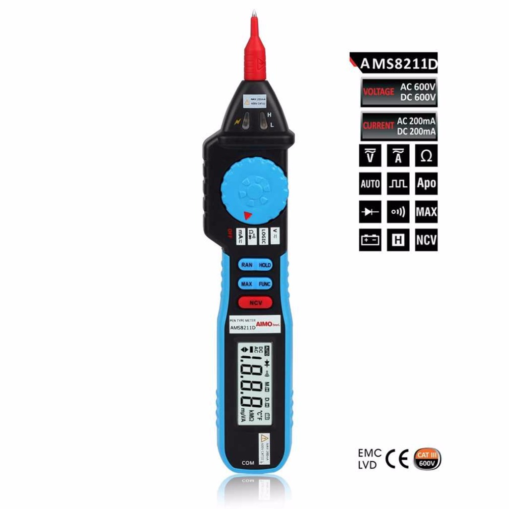 AMS8211D Pen type Digital Multimeter DC AC Voltage Current Meter Tester Continuity Diode Non-contact Voltage Logic Test  цены