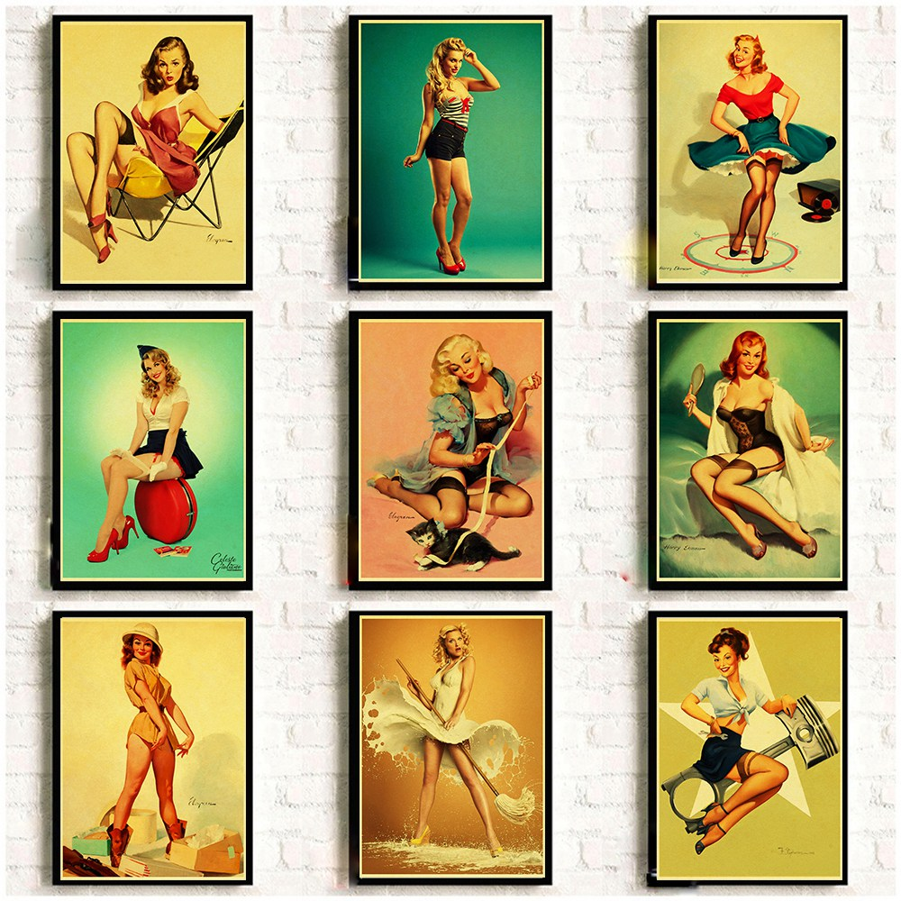 Vinatge World War II Sexy Pin Up Girl Retro Poster Kraft Paper Printed Sexy Lady Art Posters And Prints Wall Sticker