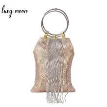 سيدة فاخرة حقيبة يد الموضة حجر الراين شرابة مساء حقيبة صغيرة محفظة الإناث الذهب الشظية اللون حفل زفاف حقيبة الزفاف ZD1197