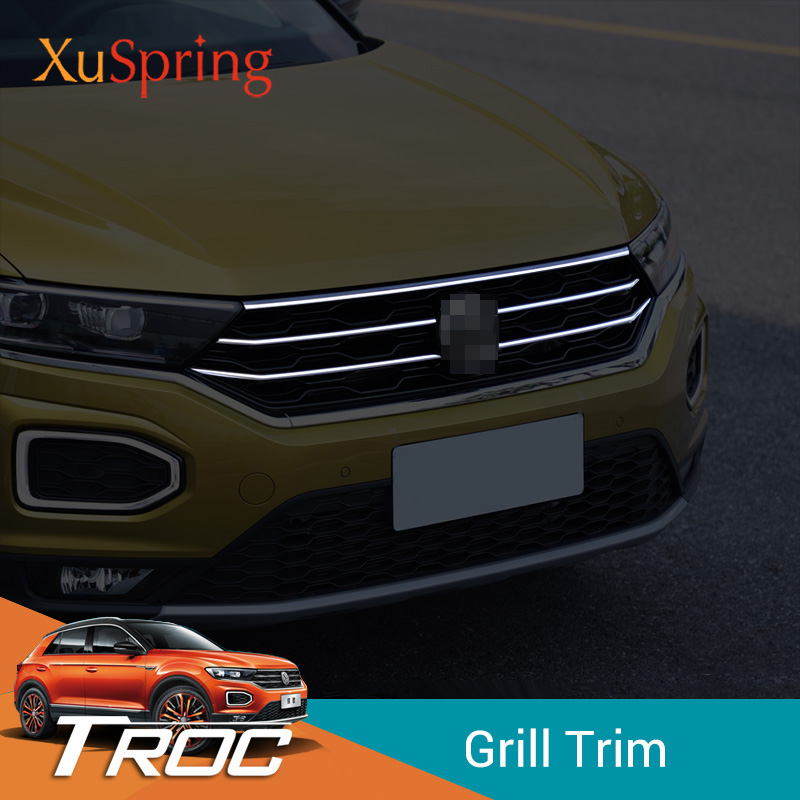 Car Front Middle Billet Grille Mesh Horizontal Trim Styling Garnish Strips Stickers For VW T Roc