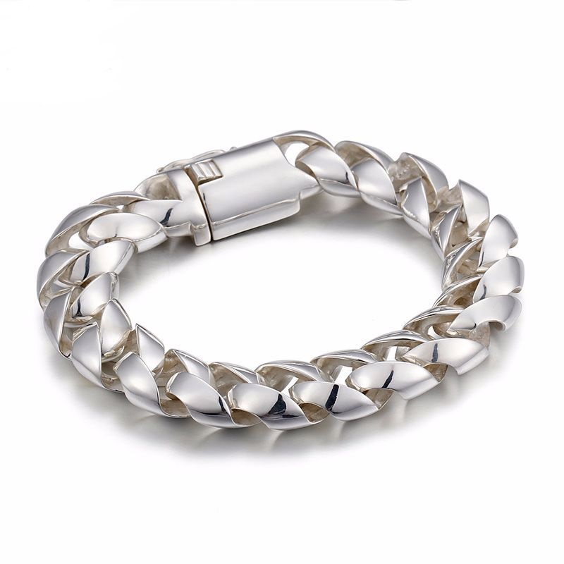 Fashion Men's Silver Bracelet S925 sterling silver bracelet Men's domineering sideways deduction hand jewelry wholesale