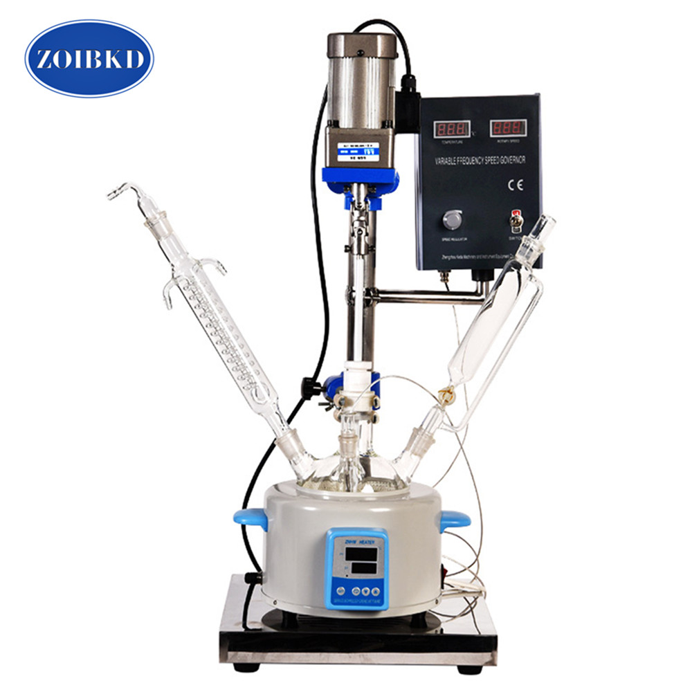 ZOIBKD  Small F-2L Single-Layer Glass Reactor Can do Stirring Reaction And Distillation Reflux Laboratory Equipment ZOIBKD  Small F-2L Single-Layer Glass Reactor Can do Stirring Reaction And Distillation Reflux Laboratory Equipment