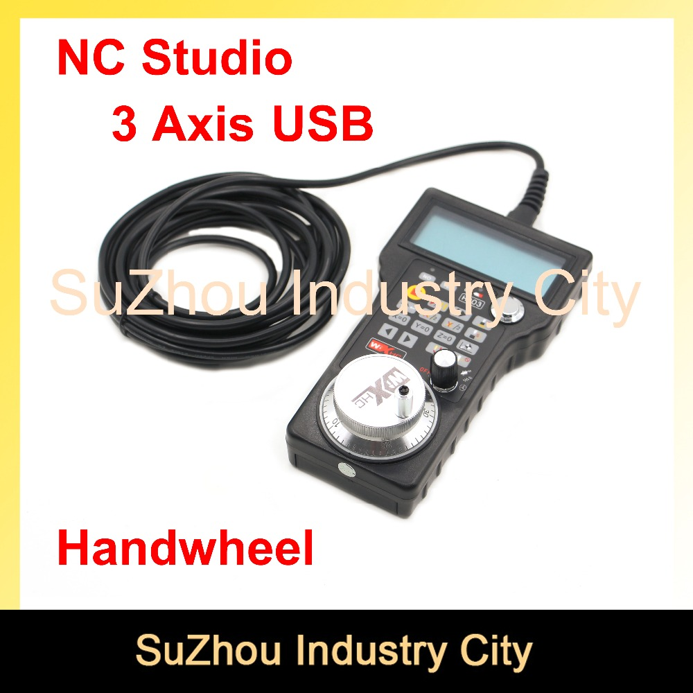CNC Handwheel NC Studio USB Remote Handle 3Axis CNC Hand pulse generator MPG 5m wire CNC Router Engraving Machine weihong system handy pulser mpg handwheel 4 axis 100ppr 5v 15v manual pulse generator use for fanuc fagor cnc system with cable