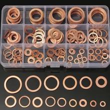 150 sztuk podkładki z litej miedzi miski olejowej różne podkładka zestaw uszczelka 15 rozmiary elektryczne uszczelniania Auto pierścień przewodność cieplna + pudełko tanie tanio Silnik opieki 11cm Copper Washers 0 28kg Automobile Service MR CARTOOL