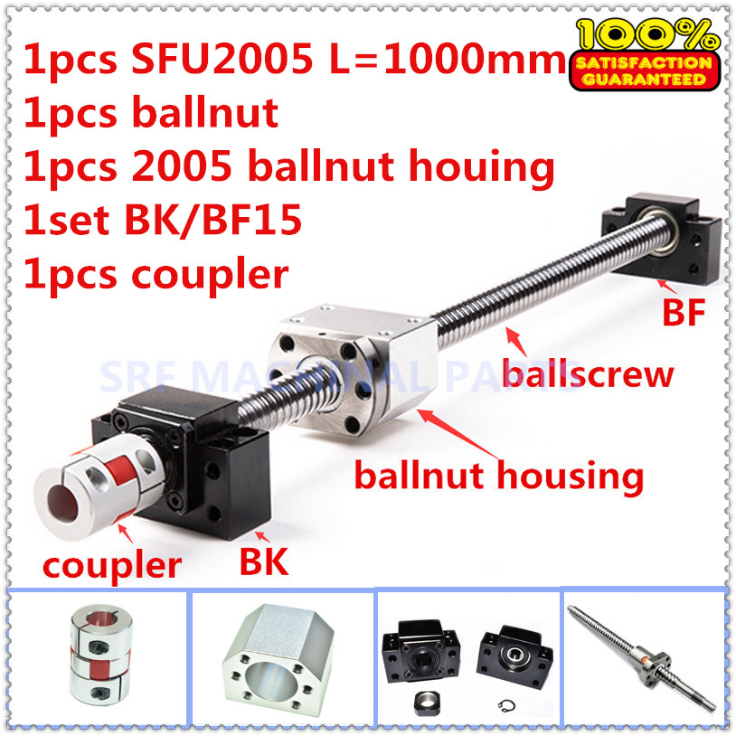 Ball screw set:1pcs SFU2005 Roller ballscrew L=1000mm+1pcs Ballnut +1pcs ballnut housing +1set BK/BF15+1pcs 12*14mm Coupling