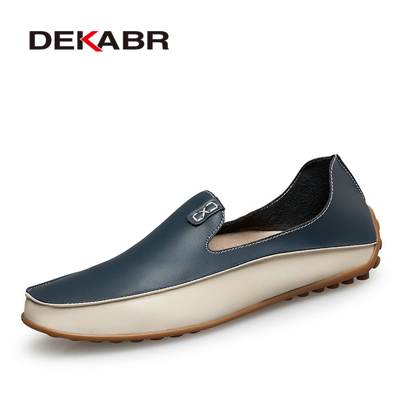 DEKABR Men Casual Flats Fashion Genuine Leather Soft Moccasins Brand Loafers High Quality Breathable Men Shoes Plus Size 36-47
