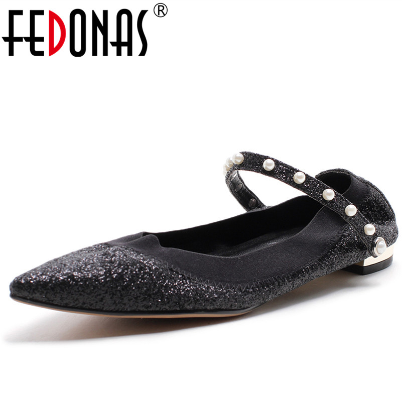 FEDONAS Brand Women RivetsBuckles Pointed Toe Genuine Leather Ballerina Foldable Ballet Flats Portable Travel Flats Pocket Shoes 2018 women shoes comfort pointed toe patent leather ballerina ballet flats portable travel flats summer slip on shallow shoes