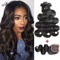3 Bundles 8A Peruvian Virgin Hair with Lace Closure with Bundles Peruvian Body Wave Human Hair Weave Ali Moda Hair with Closure