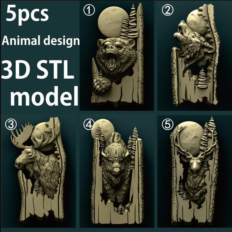 5pcs Forest Animals 3d STL Model Relief For CNC Router Aspire Artcam _ Wolf _ Bear _ Bison _ Deer