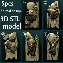 5pcs Forest animals 3d STL Model Relief for CNC Router Aspire Artcam _ Wolf _ Bear _ Bison _ Deer
